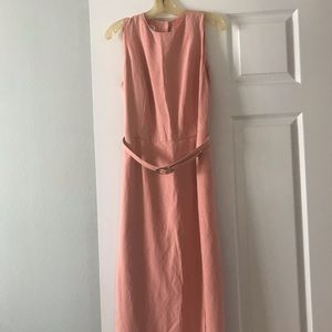 Pink linen belted dress